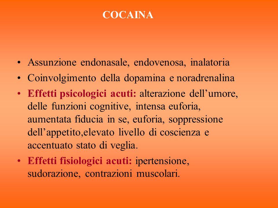 COCAINA Assunzione endonasale, endovenosa, inalatoria. Coinvolgimento della dopamina e noradrenalina.