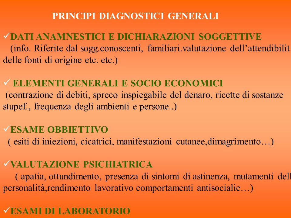 PRINCIPI DIAGNOSTICI GENERALI