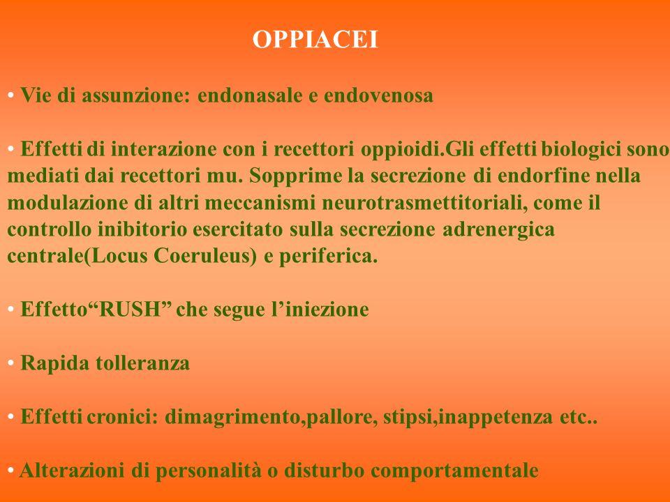 OPPIACEI Vie di assunzione: endonasale e endovenosa