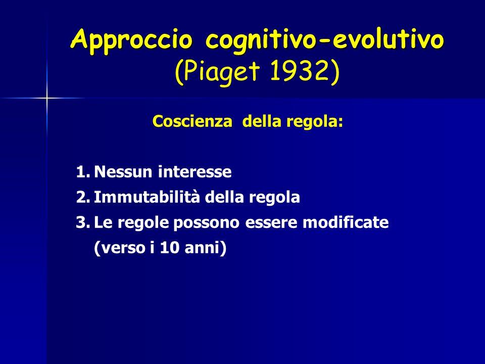 Approccio cognitivo-evolutivo (Piaget 1932)