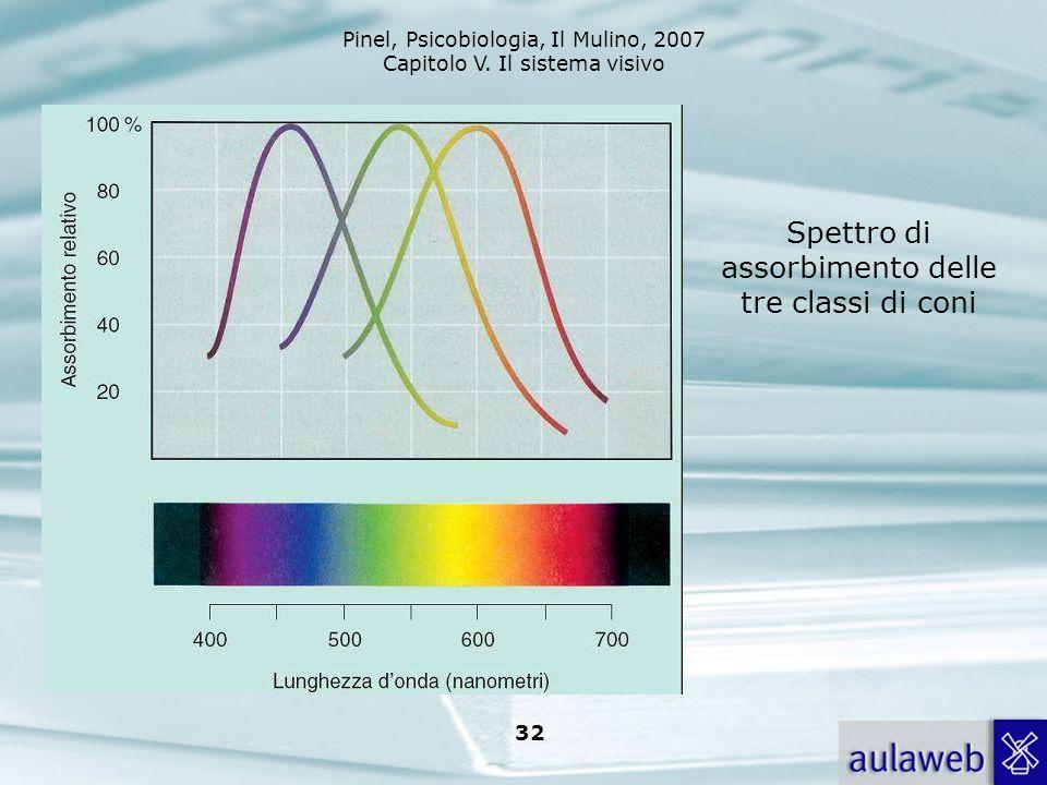 Spettro di assorbimento delle tre classi di coni