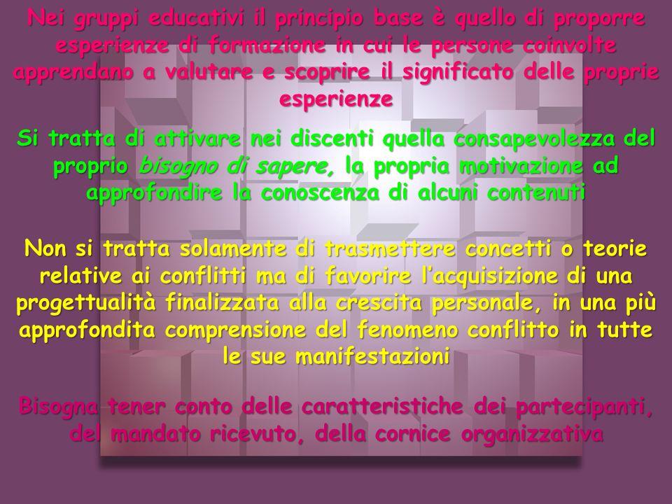Nei gruppi educativi il principio base è quello di proporre esperienze di formazione in cui le persone coinvolte apprendano a valutare e scoprire il significato delle proprie esperienze