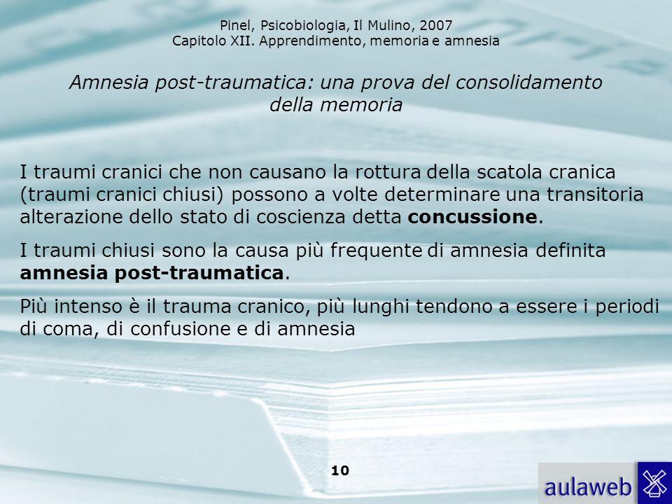 Amnesia post-traumatica: una prova del consolidamento della memoria