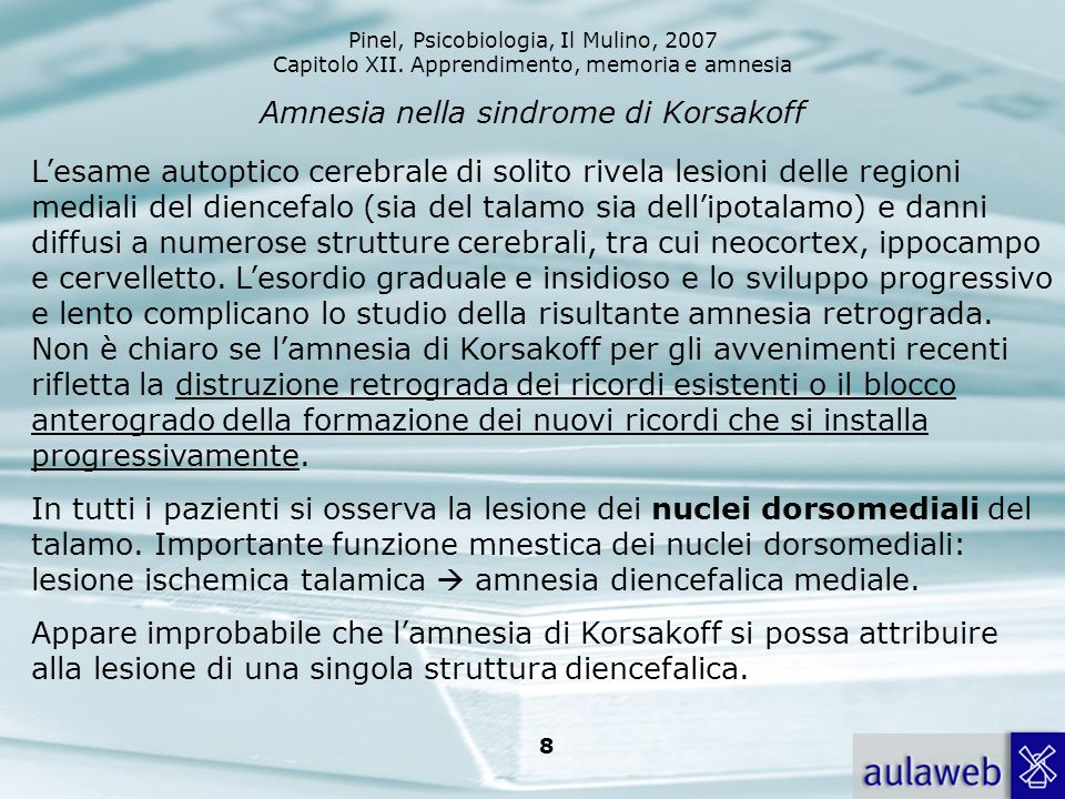 Amnesia nella sindrome di Korsakoff