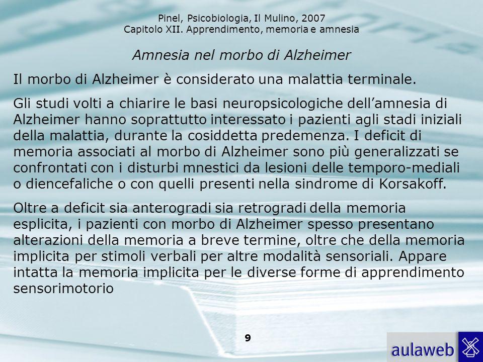 Amnesia nel morbo di Alzheimer