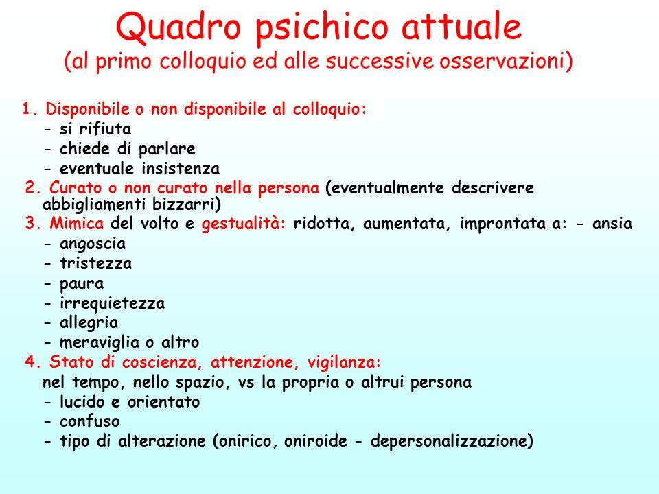 Quadro psichico attuale (al primo colloquio ed alle successive osservazioni)