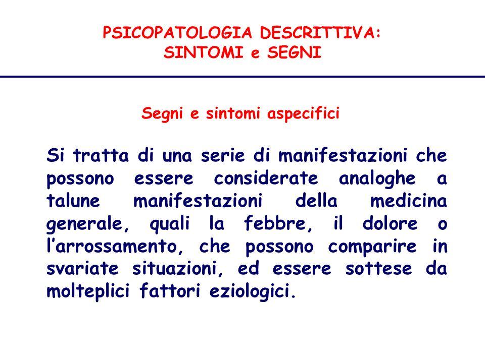 PSICOPATOLOGIA DESCRITTIVA: SINTOMI e SEGNI