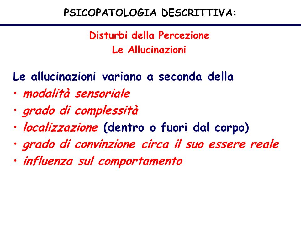 PSICOPATOLOGIA DESCRITTIVA: