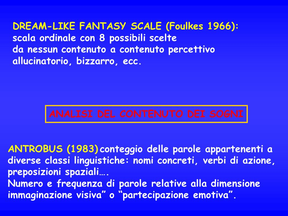 DREAM-LIKE FANTASY SCALE (Foulkes 1966):