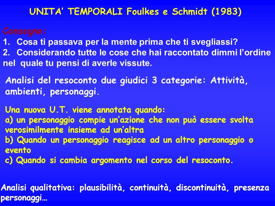 UNITA' TEMPORALI Foulkes e Schmidt (1983)