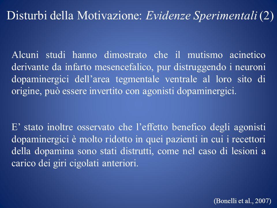 Disturbi della Motivazione: Evidenze Sperimentali (2)