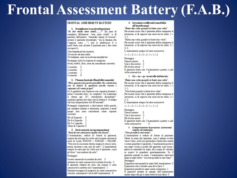 Frontal Assessment Battery (F.A.B.)