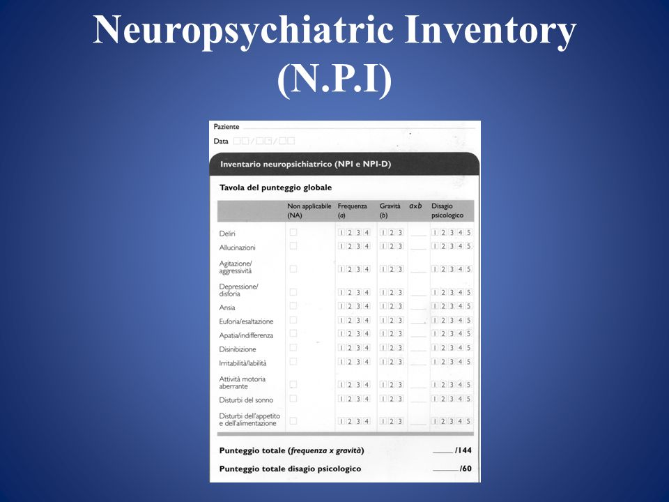 Neuropsychiatric Inventory (N.P.I)