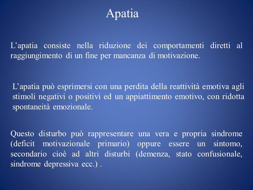 Apatia L'apatia consiste nella riduzione dei comportamenti diretti al raggiungimento di un fine per mancanza di motivazione.