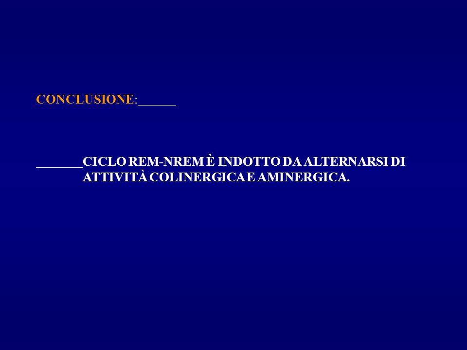 CONCLUSIONE: CICLO REM-NREM È INDOTTO DA ALTERNARSI DI ATTIVITÀ COLINERGICA E AMINERGICA.