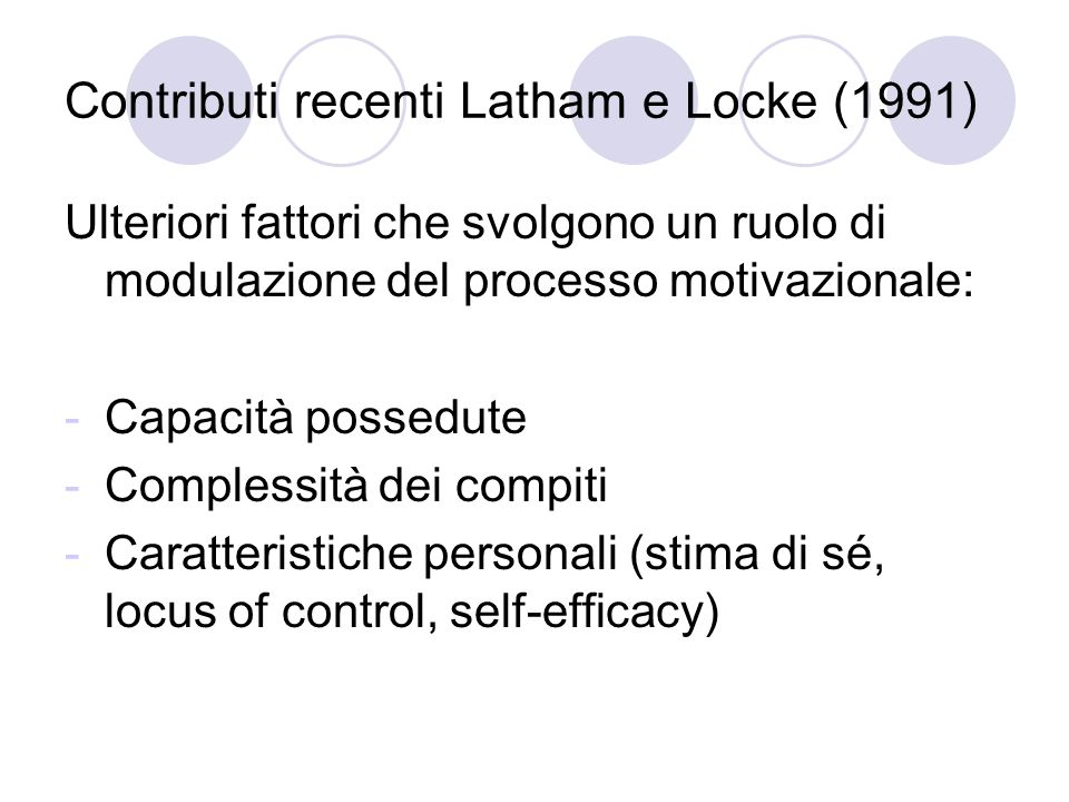Contributi recenti Latham e Locke (1991)
