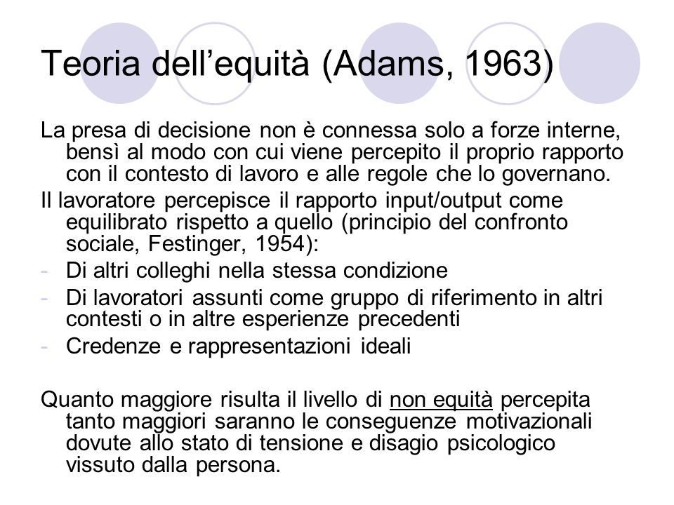 Teoria dell'equità (Adams, 1963)