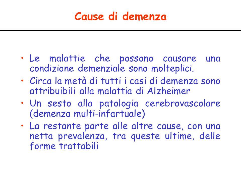 Cause di demenza Le malattie che possono causare una condizione demenziale sono molteplici.