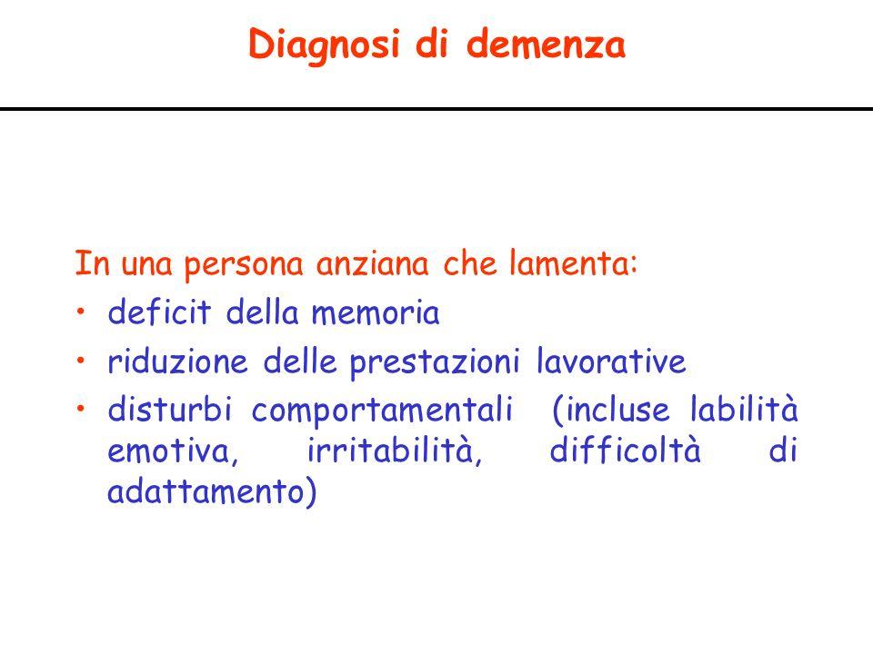 Diagnosi di demenza In una persona anziana che lamenta: