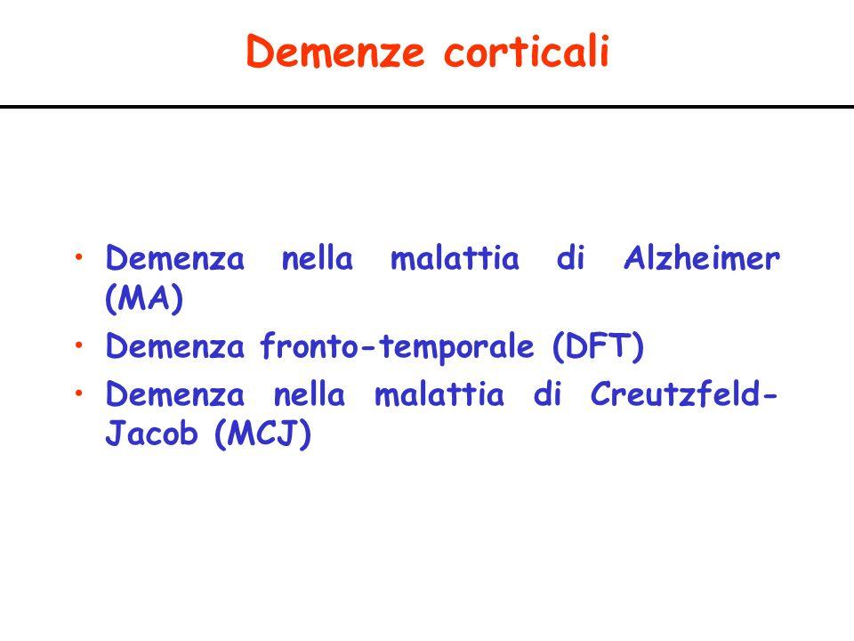 Demenze corticali Demenza nella malattia di Alzheimer (MA)