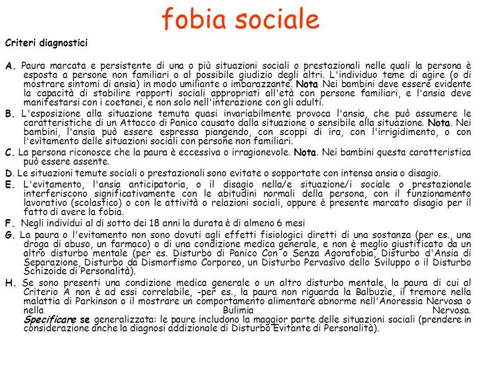 fobia sociale Criteri diagnostici