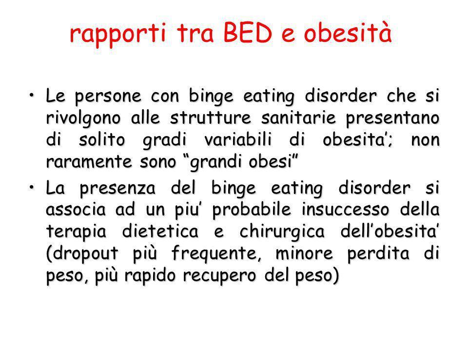 rapporti tra BED e obesità