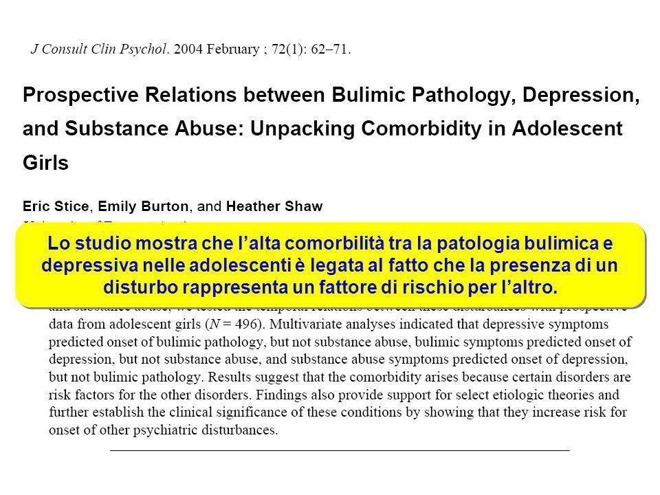 Lo studio mostra che l'alta comorbilità tra la patologia bulimica e depressiva nelle adolescenti è legata al fatto che la presenza di un disturbo rappresenta un fattore di rischio per l'altro.