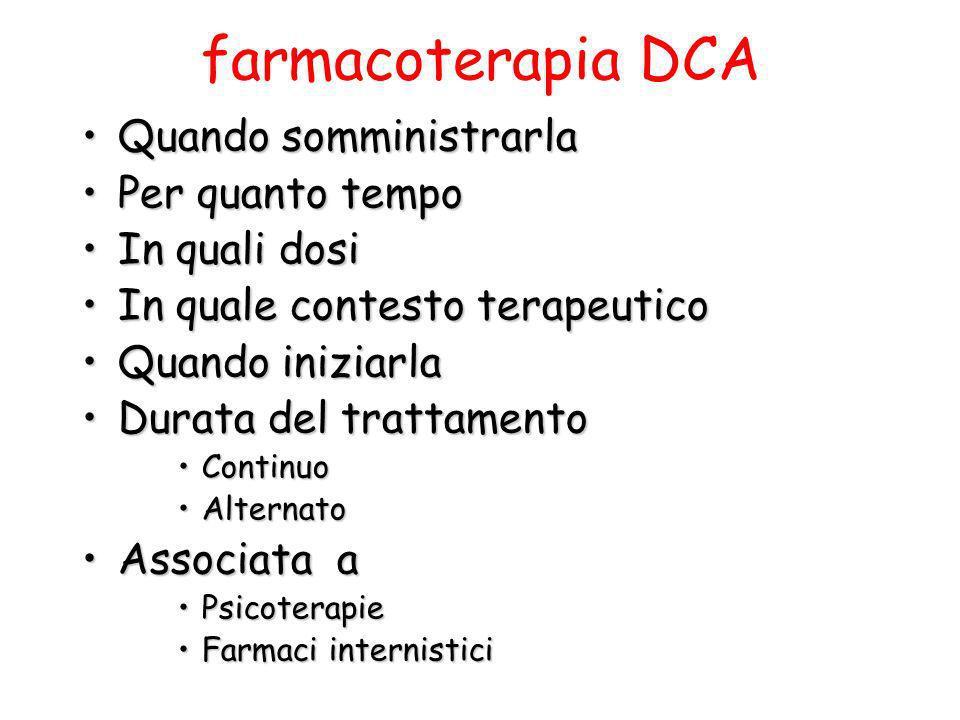 farmacoterapia DCA Quando somministrarla Per quanto tempo