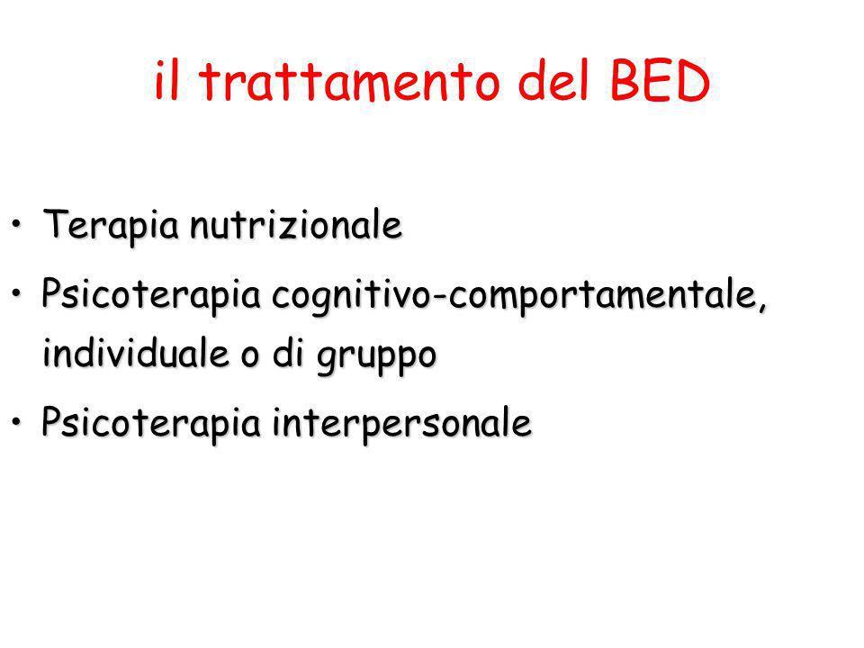 il trattamento del BED Terapia nutrizionale