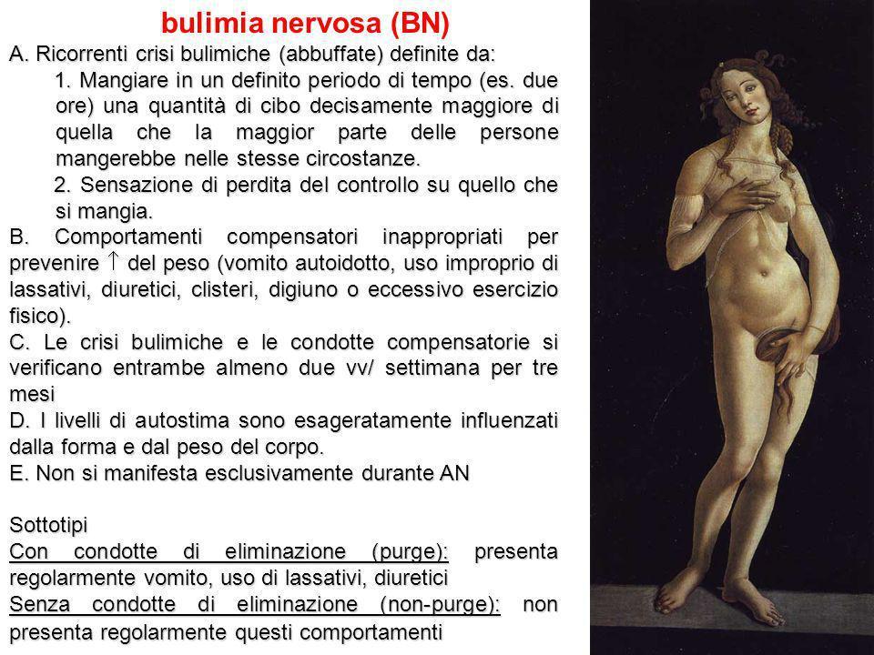 bulimia nervosa (BN) A. Ricorrenti crisi bulimiche (abbuffate) definite da: