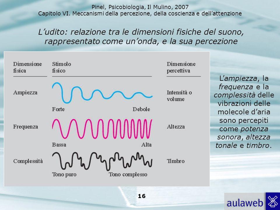 L'udito: relazione tra le dimensioni fisiche del suono, rappresentato come un'onda, e la sua percezione