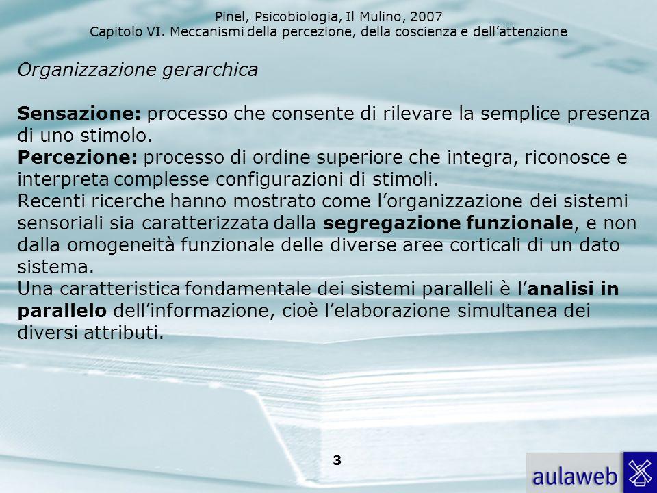 Organizzazione gerarchica Sensazione: processo che consente di rilevare la semplice presenza di uno stimolo.