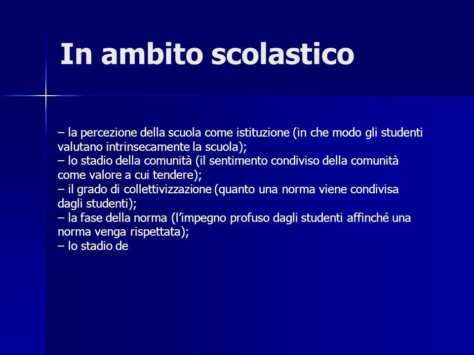 In ambito scolastico – la percezione della scuola come istituzione (in che modo gli studenti. valutano intrinsecamente la scuola);