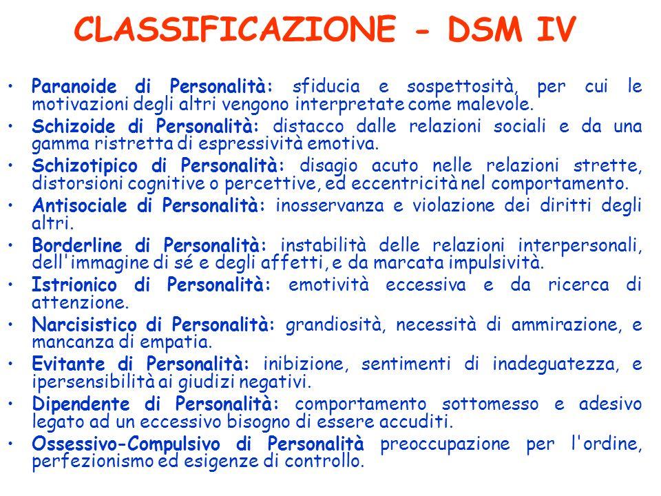 CLASSIFICAZIONE - DSM IV
