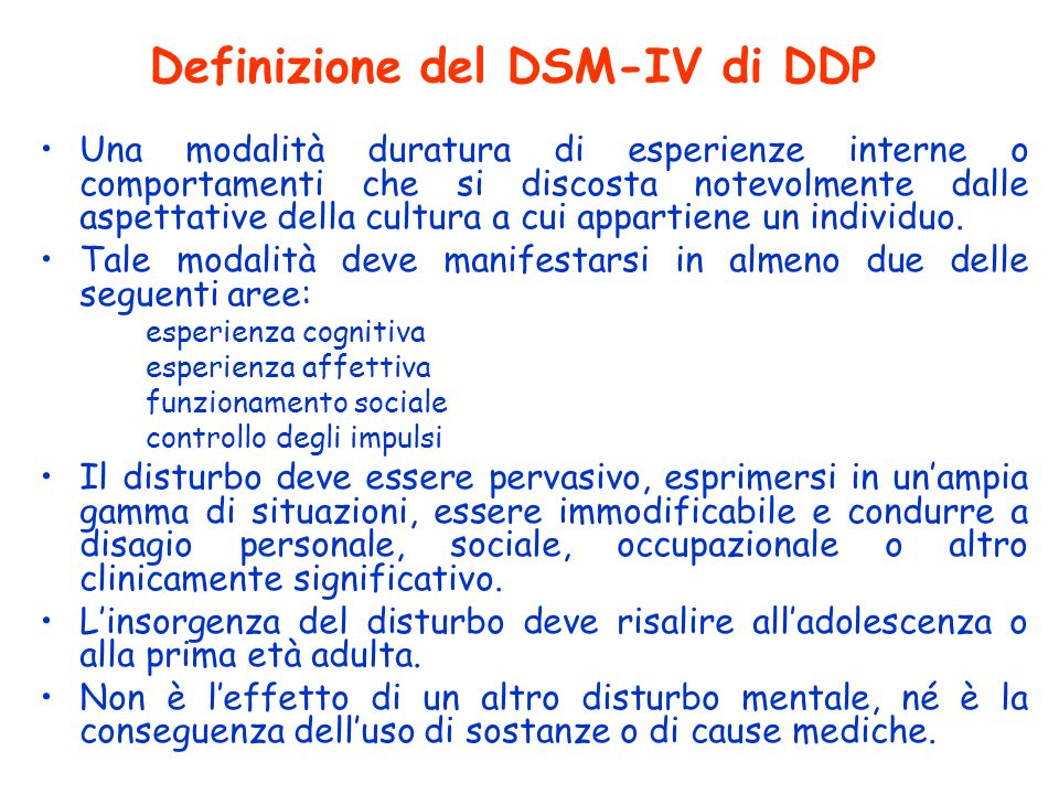 Definizione del DSM-IV di DDP