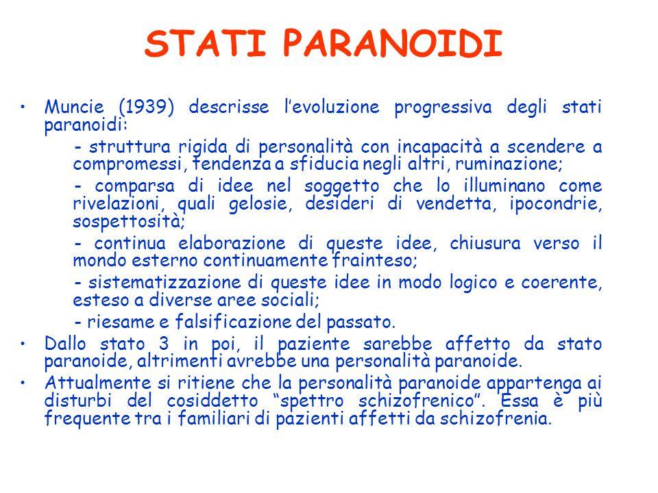STATI PARANOIDI Muncie (1939) descrisse l'evoluzione progressiva degli stati paranoidi: