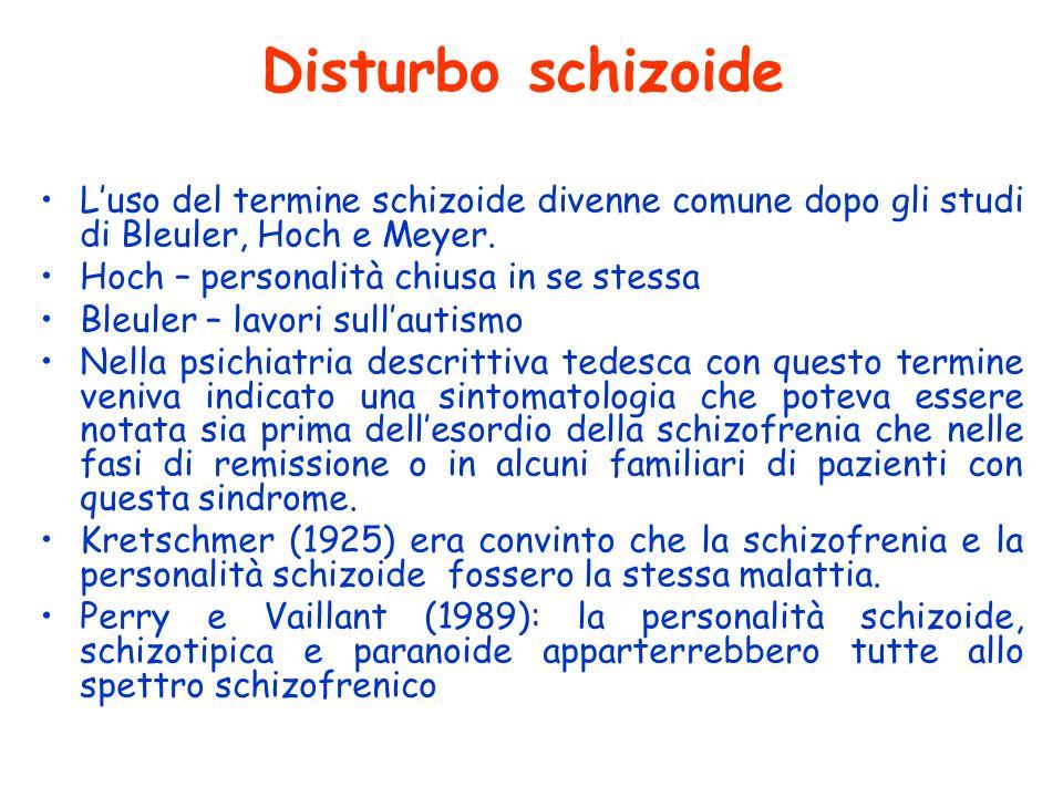 Disturbo schizoide L'uso del termine schizoide divenne comune dopo gli studi di Bleuler, Hoch e Meyer.