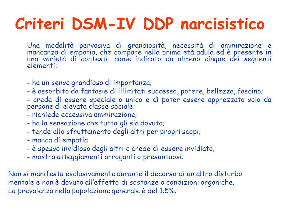 Criteri DSM-IV DDP narcisistico