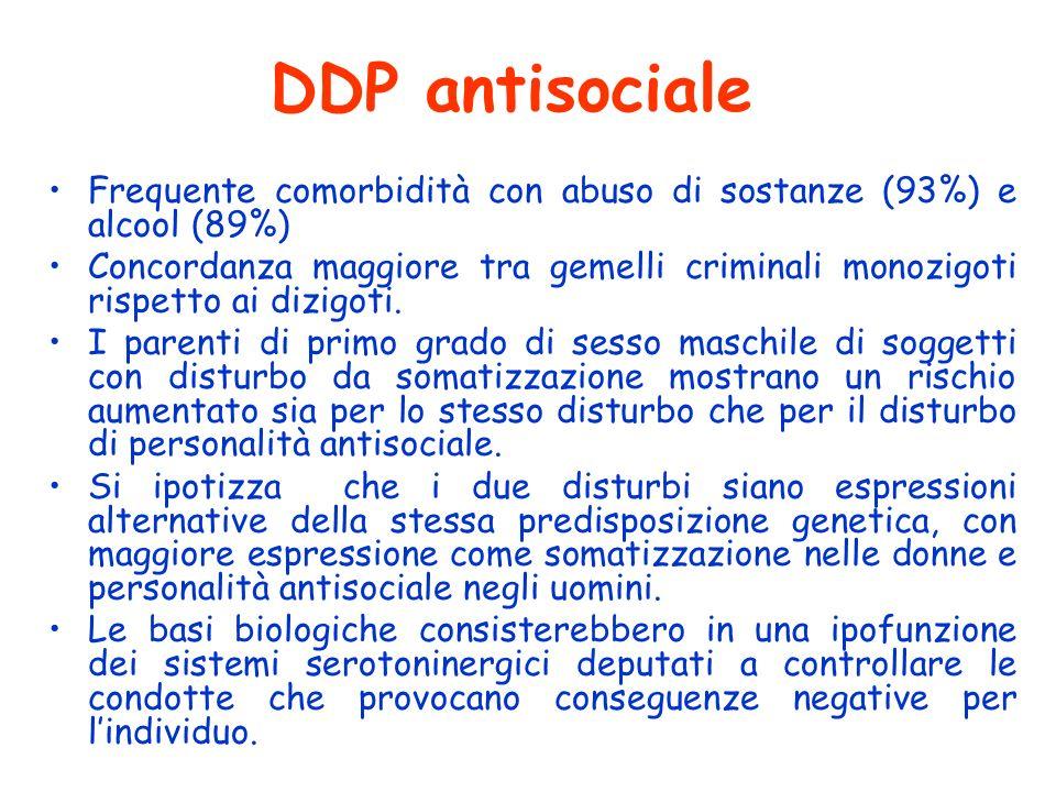 DDP antisociale Frequente comorbidità con abuso di sostanze (93%) e alcool (89%)