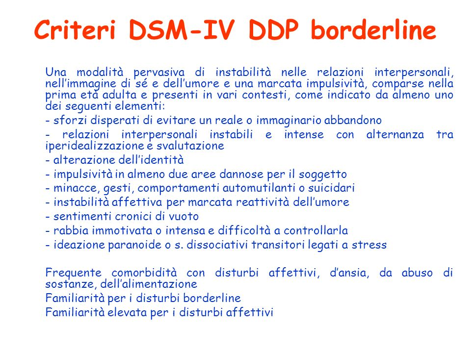 Criteri DSM-IV DDP borderline