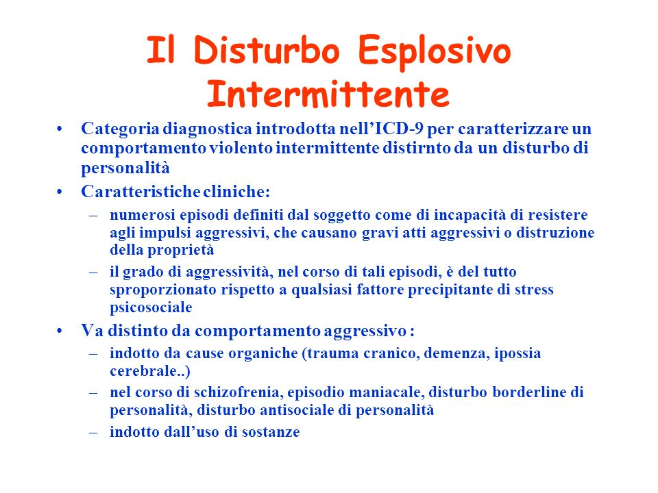 Il Disturbo Esplosivo Intermittente