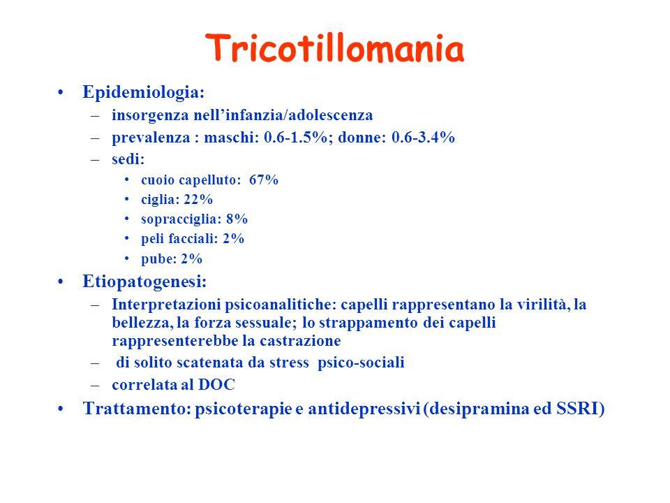 Tricotillomania Epidemiologia: Etiopatogenesi: