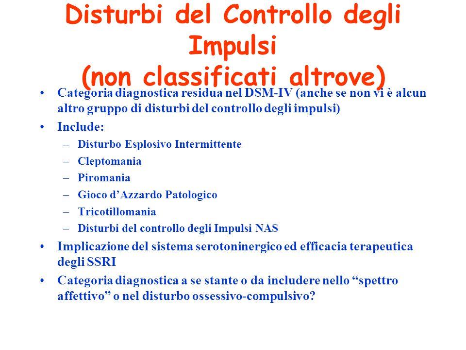 Disturbi del Controllo degli Impulsi (non classificati altrove)