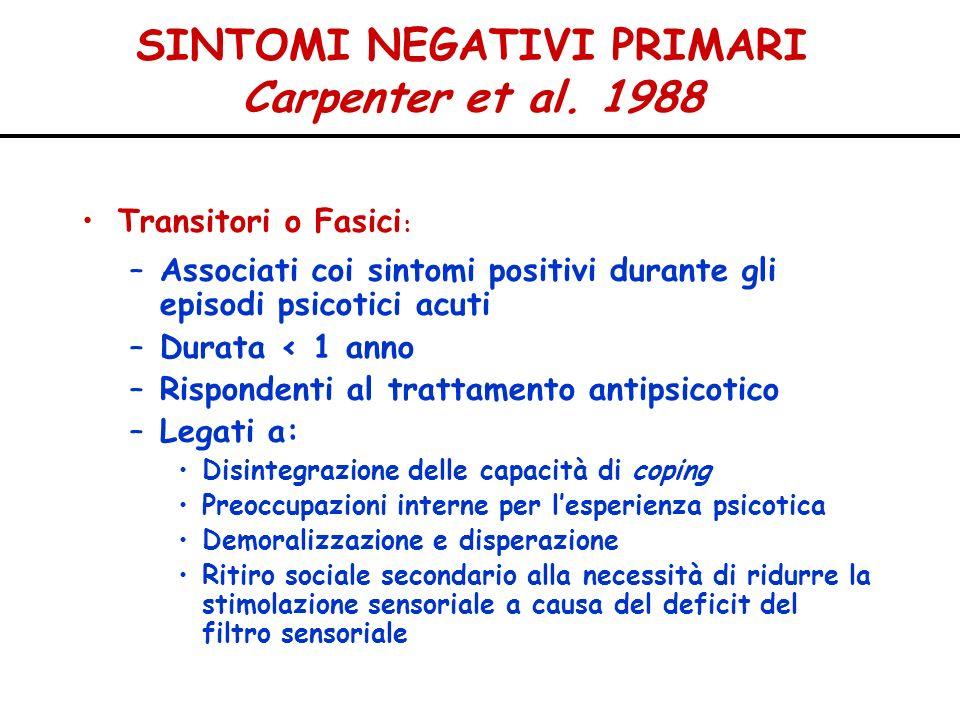SINTOMI NEGATIVI PRIMARI Carpenter et al. 1988