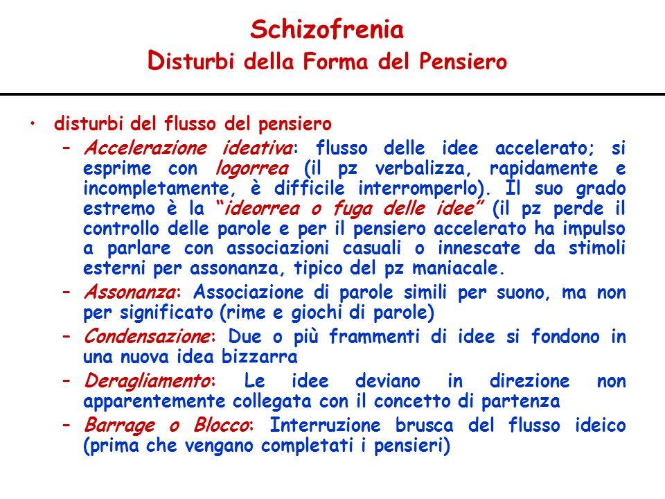 Schizofrenia Disturbi della Forma del Pensiero