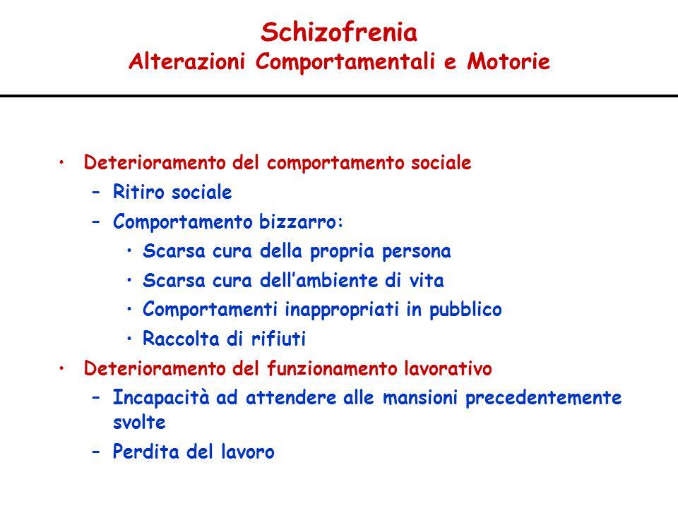 Schizofrenia Alterazioni Comportamentali e Motorie