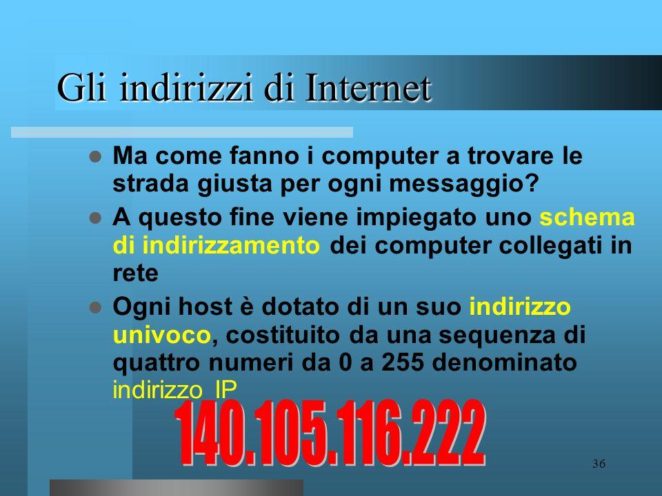 Gli indirizzi di Internet
