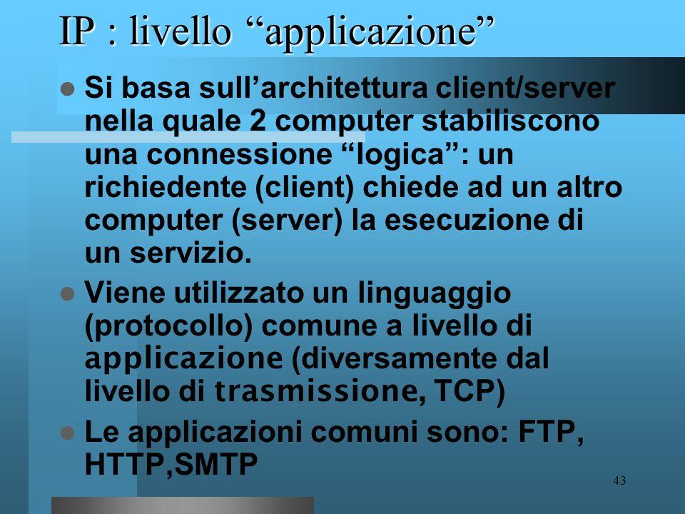 IP : livello applicazione