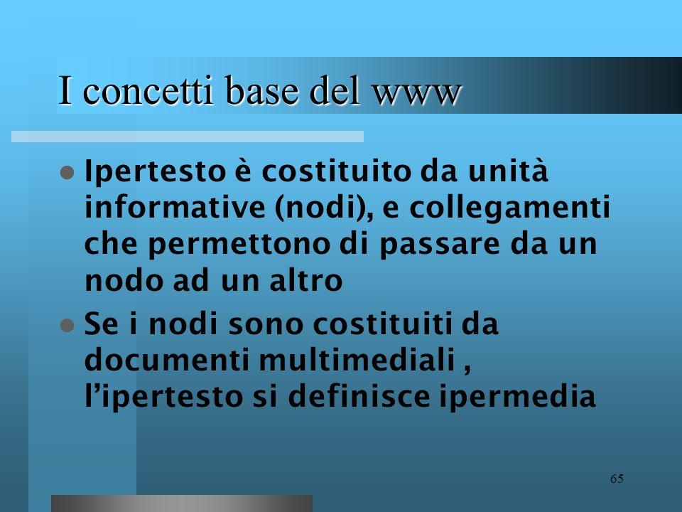I concetti base del www Ipertesto è costituito da unità informative (nodi), e collegamenti che permettono di passare da un nodo ad un altro.