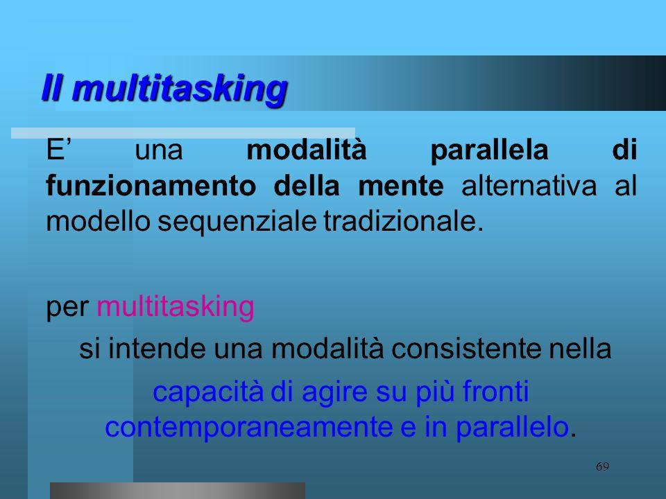 Il multitasking E' una modalità parallela di funzionamento della mente alternativa al modello sequenziale tradizionale.
